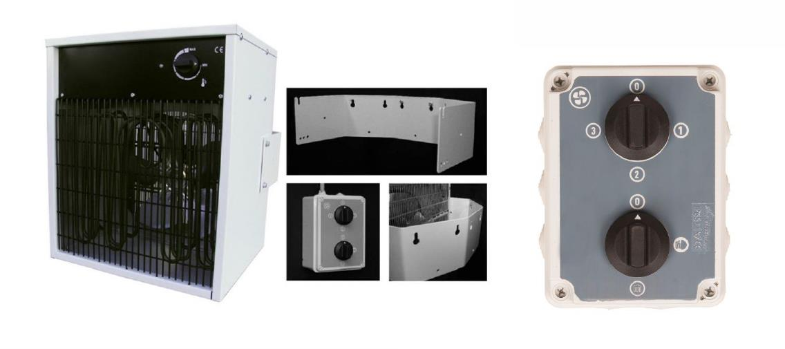Electric unit heater with wall bracket and controller
