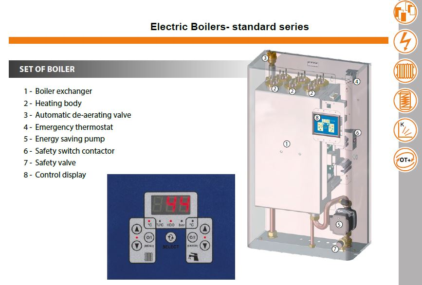 electric central heating boiler; electric boiler for central heating; electric central heating boiler systems; electric boiler for wet central heating; electric boilers;