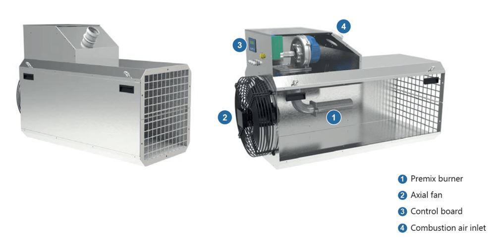 direct gas fired industrial air heaters , FHRTG Range from Flexiheat UK