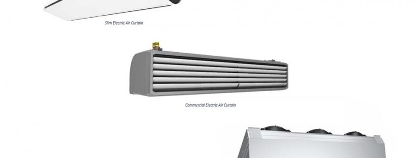 electric air curtains; electric air curtain heater; electric heated air curtain; commercial electric air curtain; industrial electric air curtain;