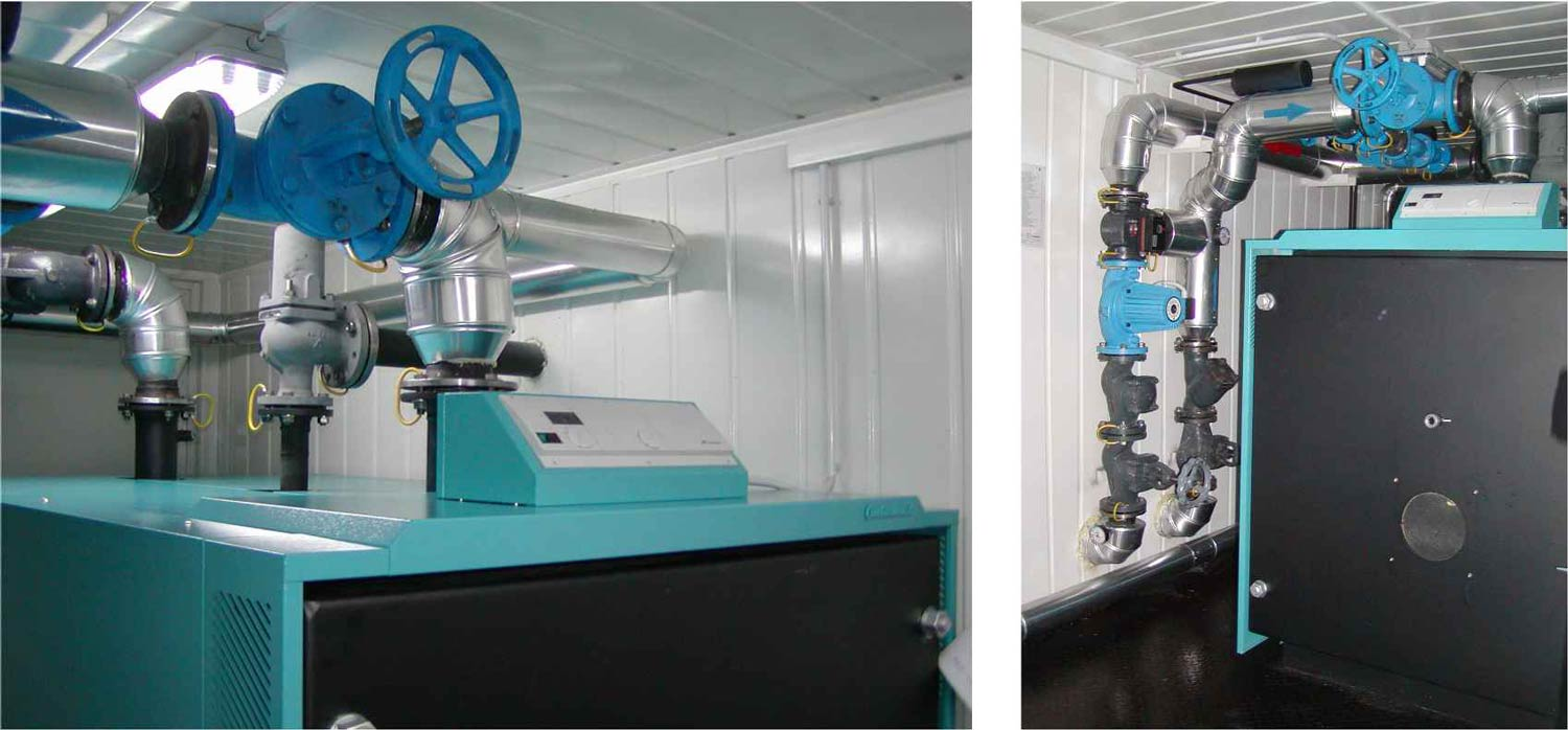 Temporary mobile boiler house from Flexiheat UK - The burner can either be gas, oil or even dual fuel