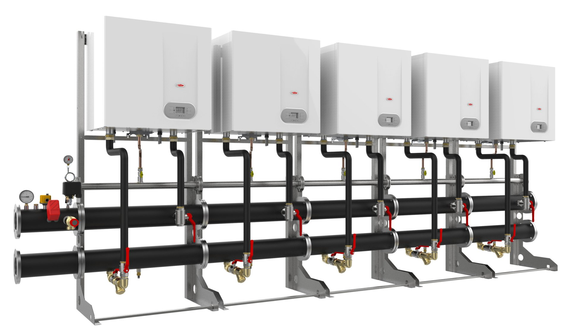 commercial and industrial gas boiler; commercial boiler in a cascade;commercial boiler installations