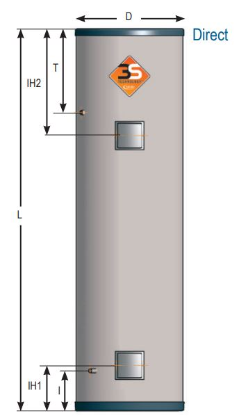 unvented direct cylinders -dimensions standard - from Flexiheat UK; deliver;inc vat; store; litres; inc vat; price
